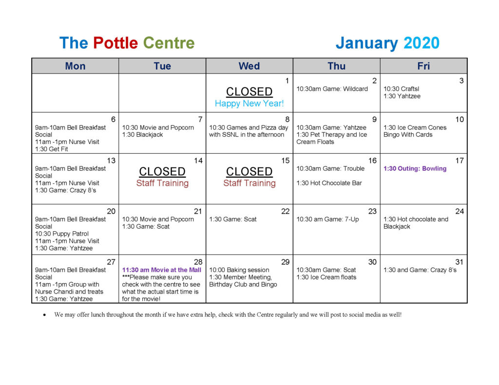 Pottle Centre January 2020 Calendar
